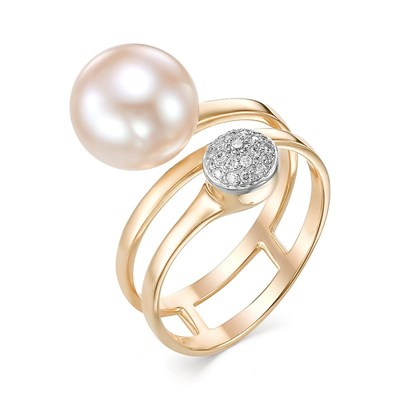Кольцо из красного золота с жемчугом и бриллиантами 585 пробы.