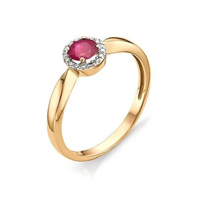 Кольцо из красного золота с рубином и бриллиантами 585 пробы.