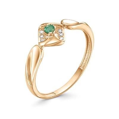 Кольцо из красного золота с изумрудом и бриллиантами 585 пробы.