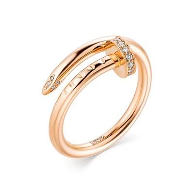 Кольцо из красного золота с бриллиантами «Гвоздь» 585 пробы.