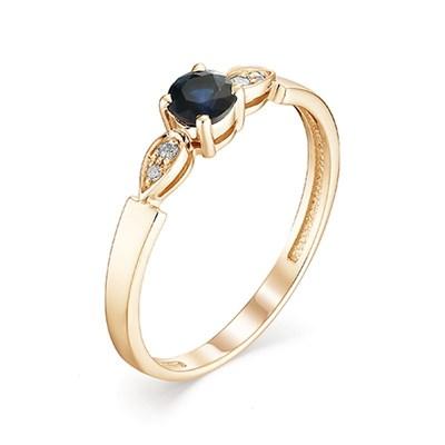 Кольцо из красного золота с сапфиром и бриллиантами 585 пробы.