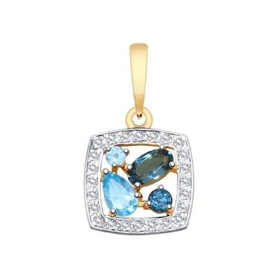 Подвеска из золота SOKOLOV с голубыми и синими топазами и фианитами