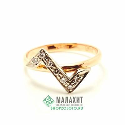 Кольцо из золота 2,74 гр. с бриллиантами, 18 размер